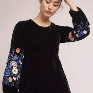 Michie Embroidered Black Velvet Dress NWT 8